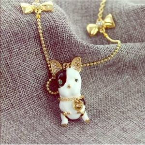 NWT Betsey Johnson Rare French Bulldog necklace